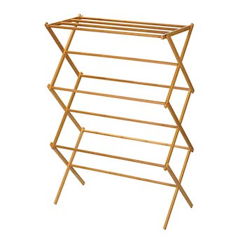 Click image to open expanded view household essentials 6524 tall indoor folding wooden clothes drying rack