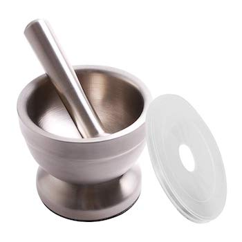 Click image to open expanded view video bekith mortar and pestle sets 18:8 brushed stainless steel