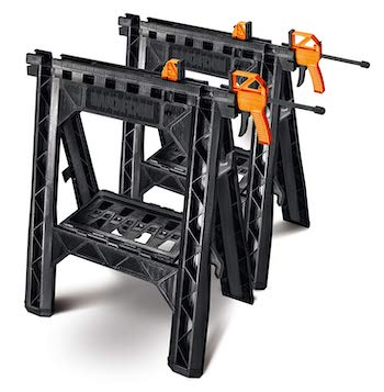 Click image to open expanded view video worx clamping sawhorse pair with bar clamps, built in shelf and cord hooks