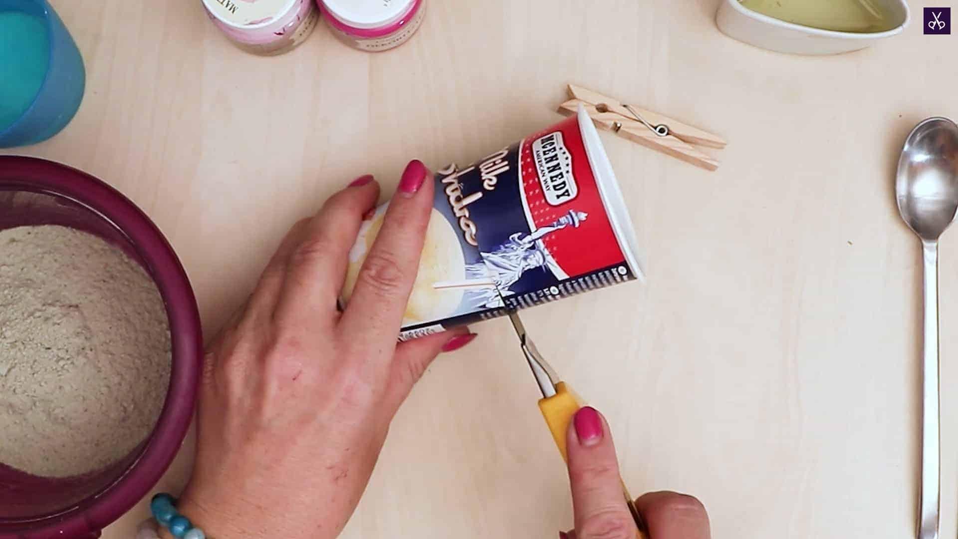 Concrete card holder cutting