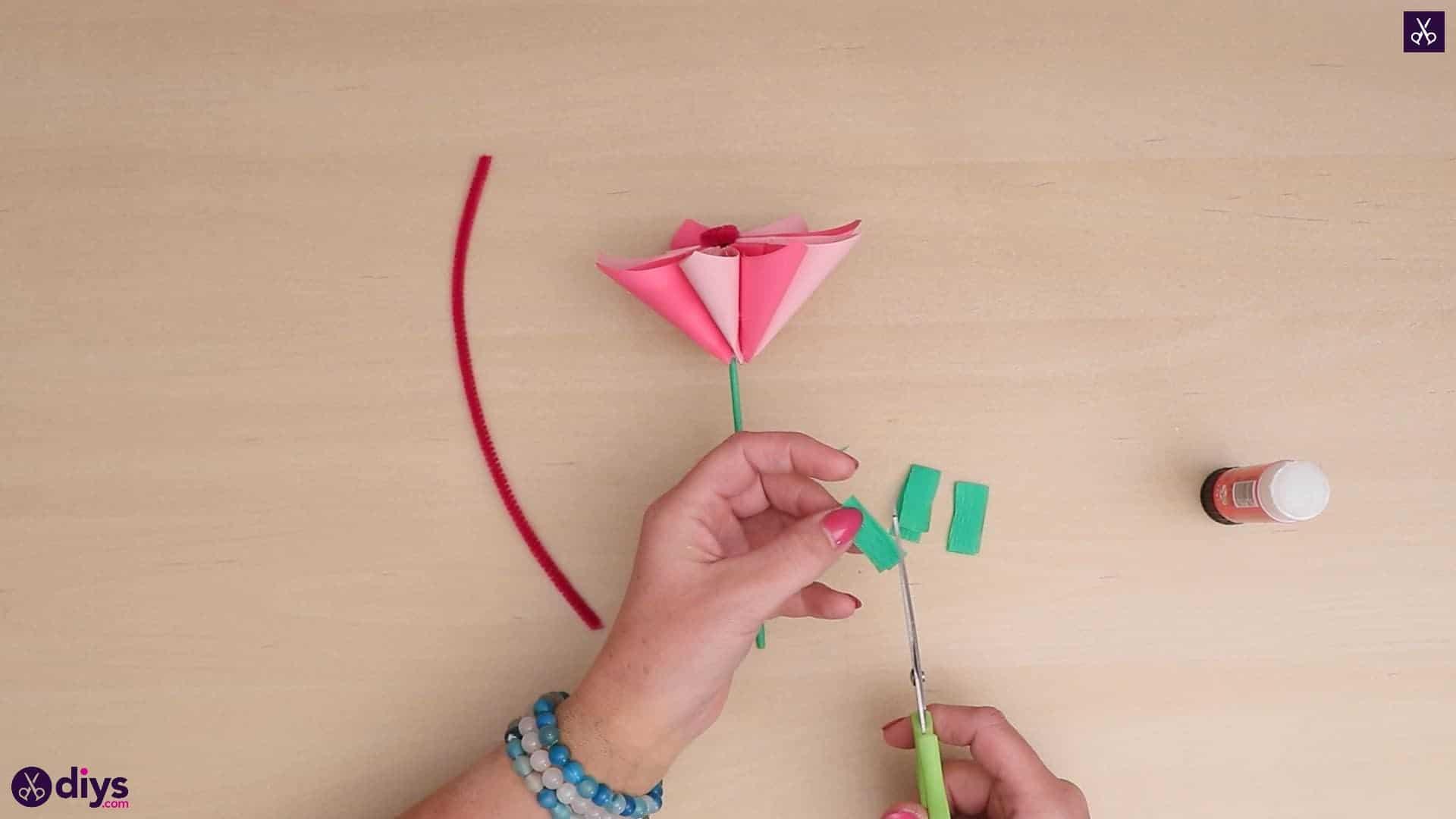 Diy 3d paper flower green paper