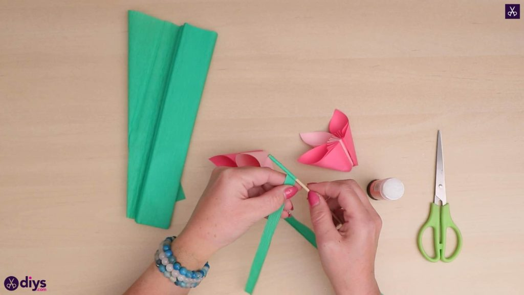 Diy 3d paper flower green paper
