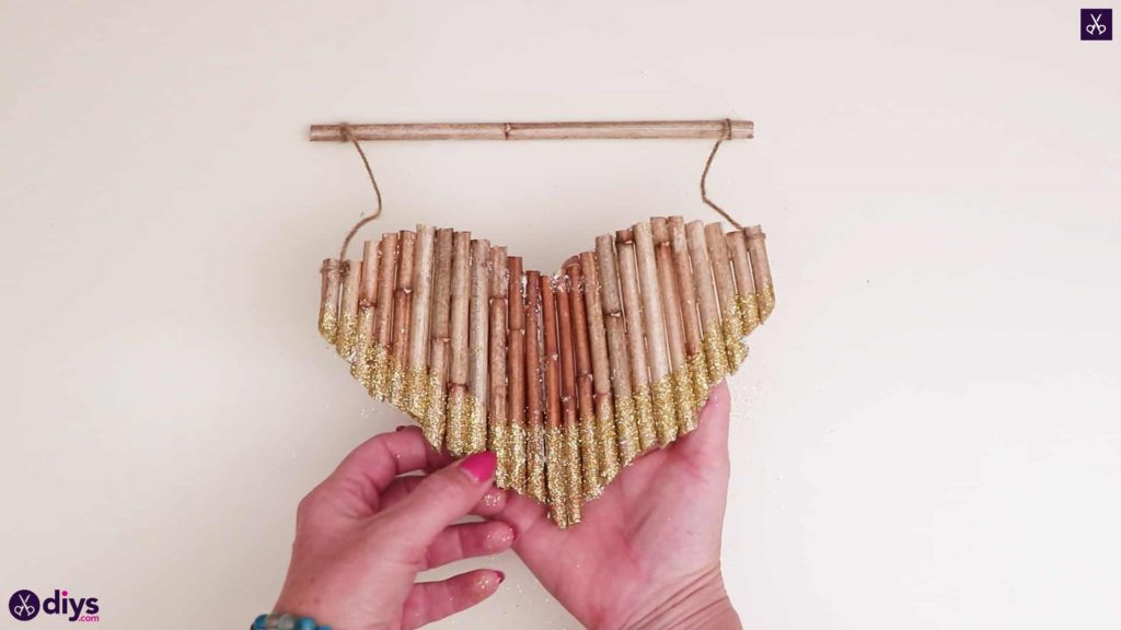 Diy hanging twig heart