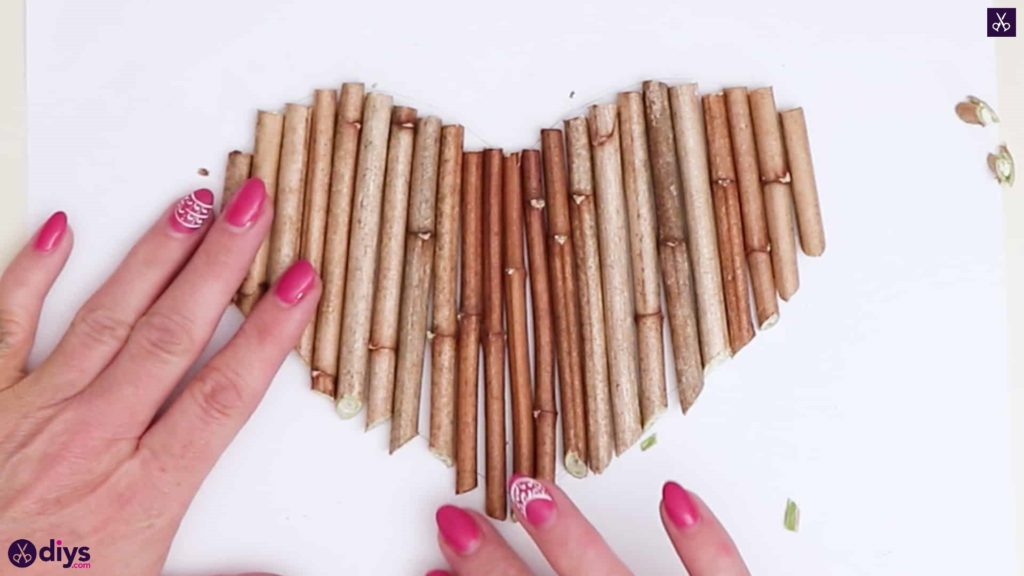 Diy hanging twig heart cutting and arrange