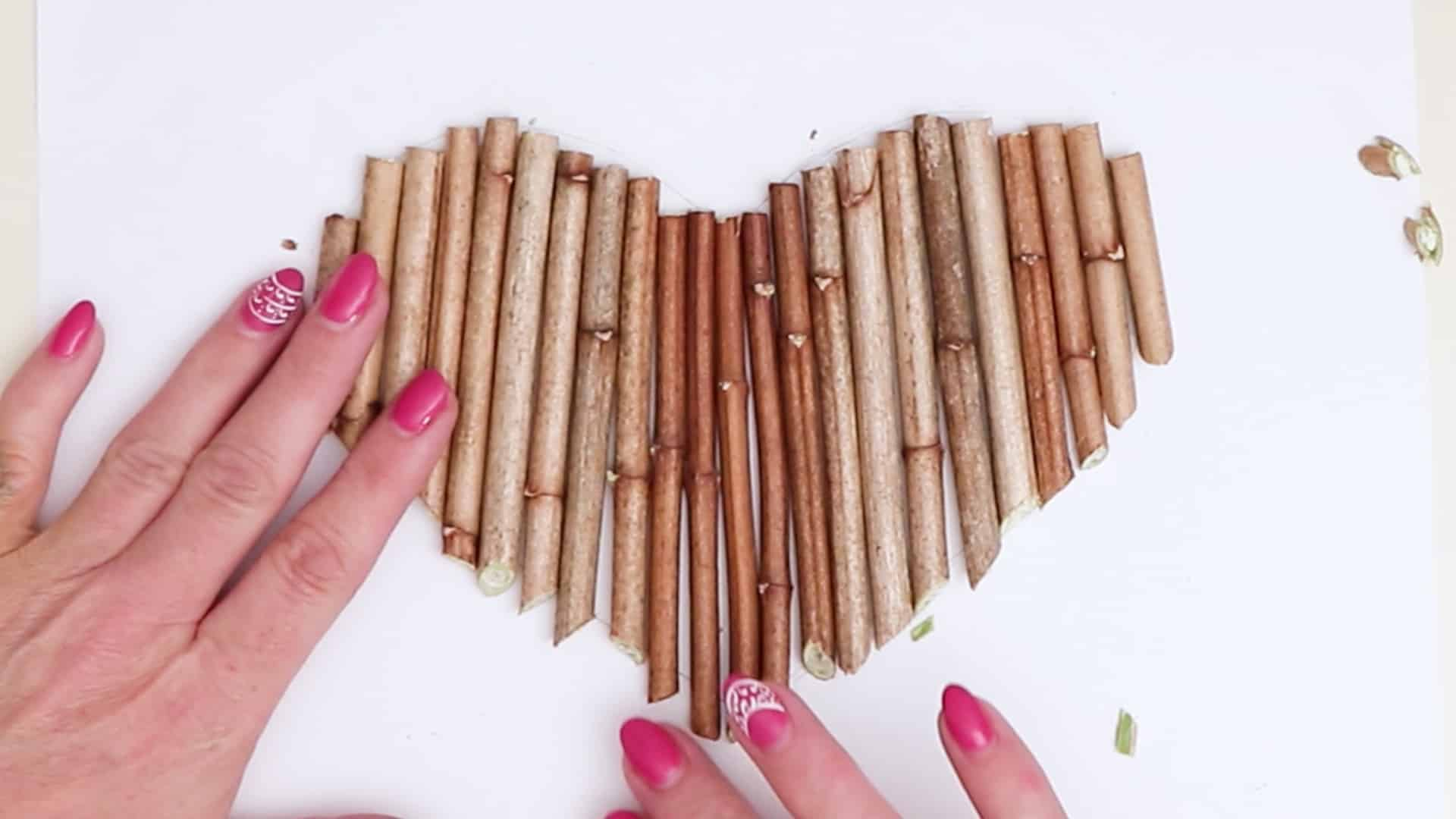 Diy hanging twig heart cutting and arrange