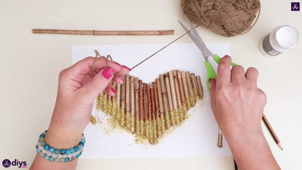 Diy hanging twig heart step 5