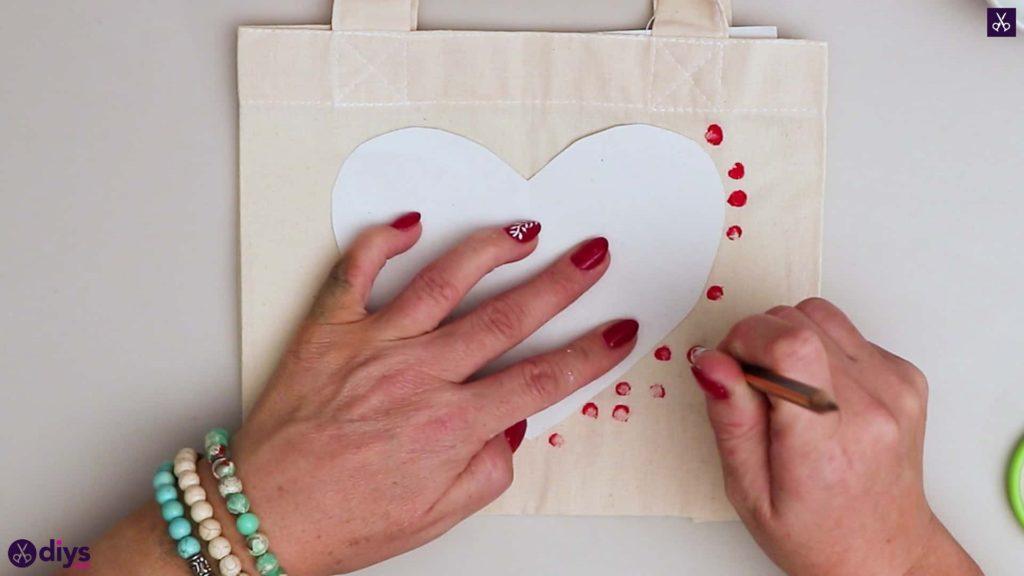 Diy heart tote bag dots