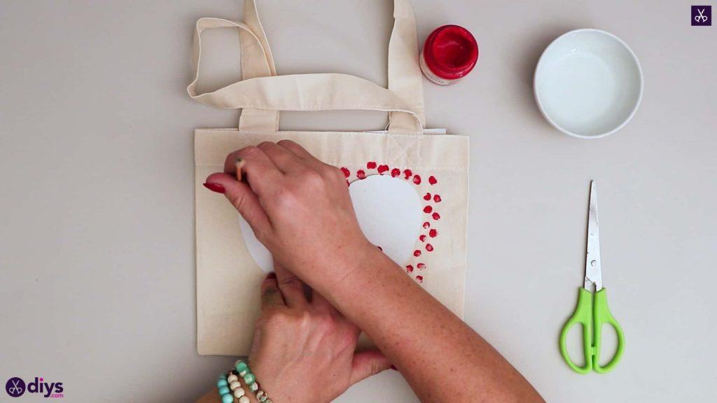 Diy heart tote bag dots around