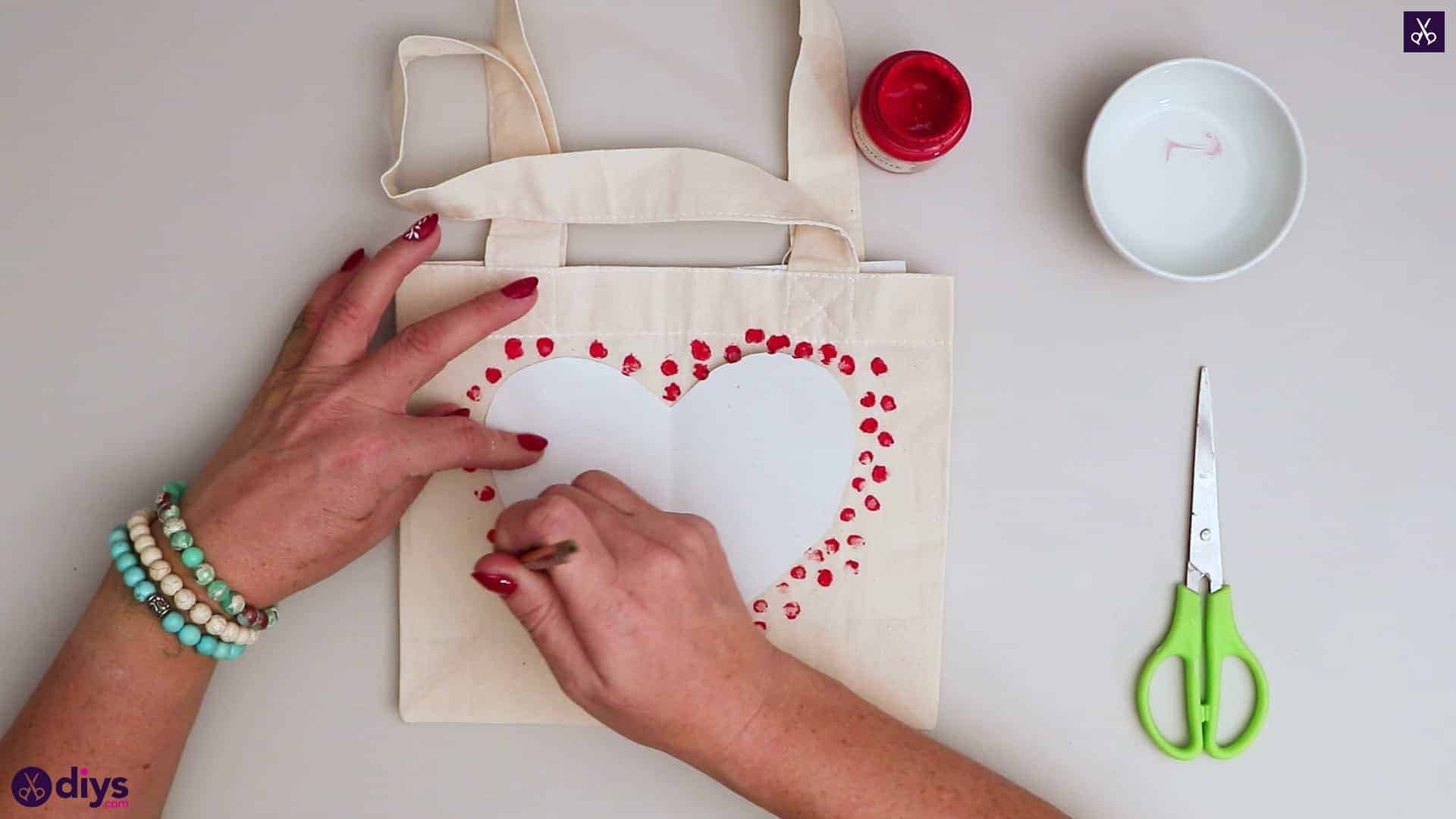 Diy heart tote bag red for valentines