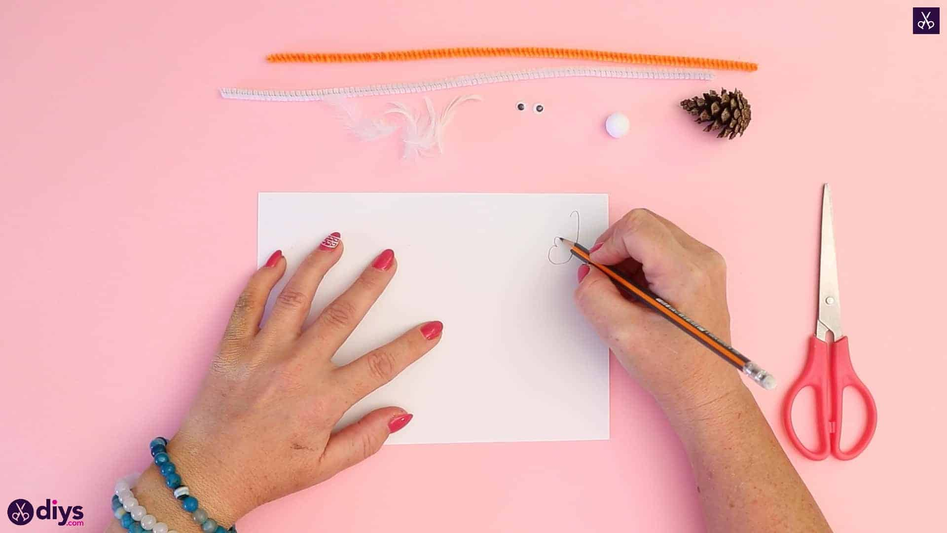 Diy simple pinecone swan draw