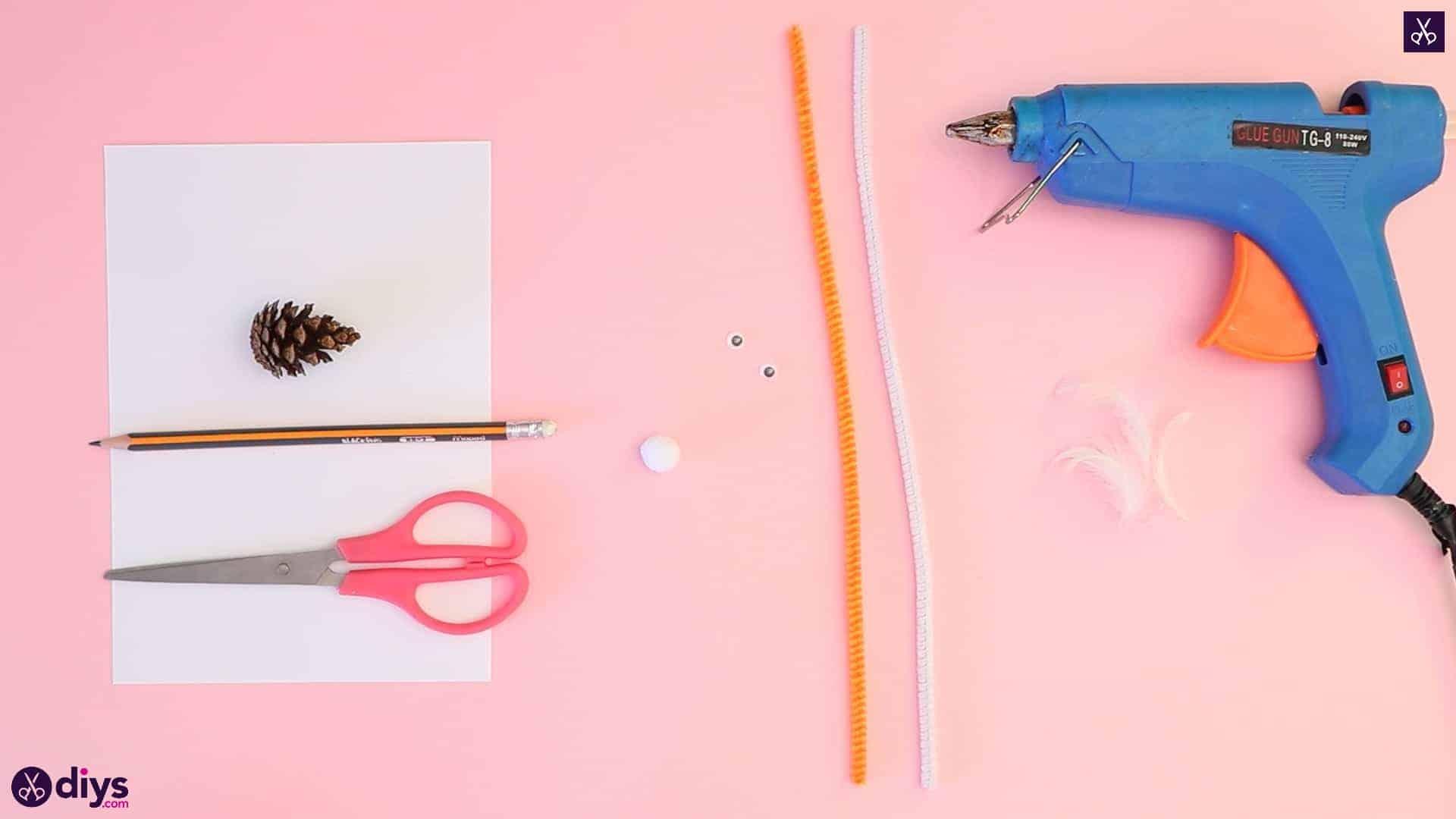 Diy simple pinecone swan materials