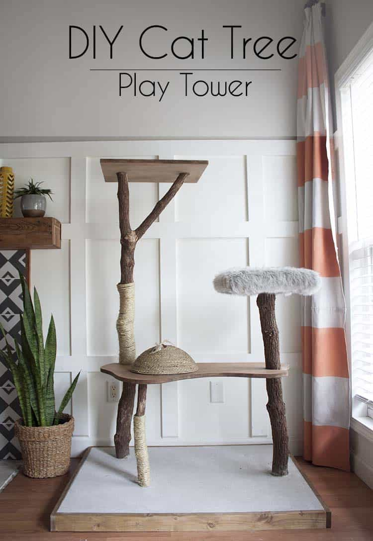 Diy cat play tower made from actual trees