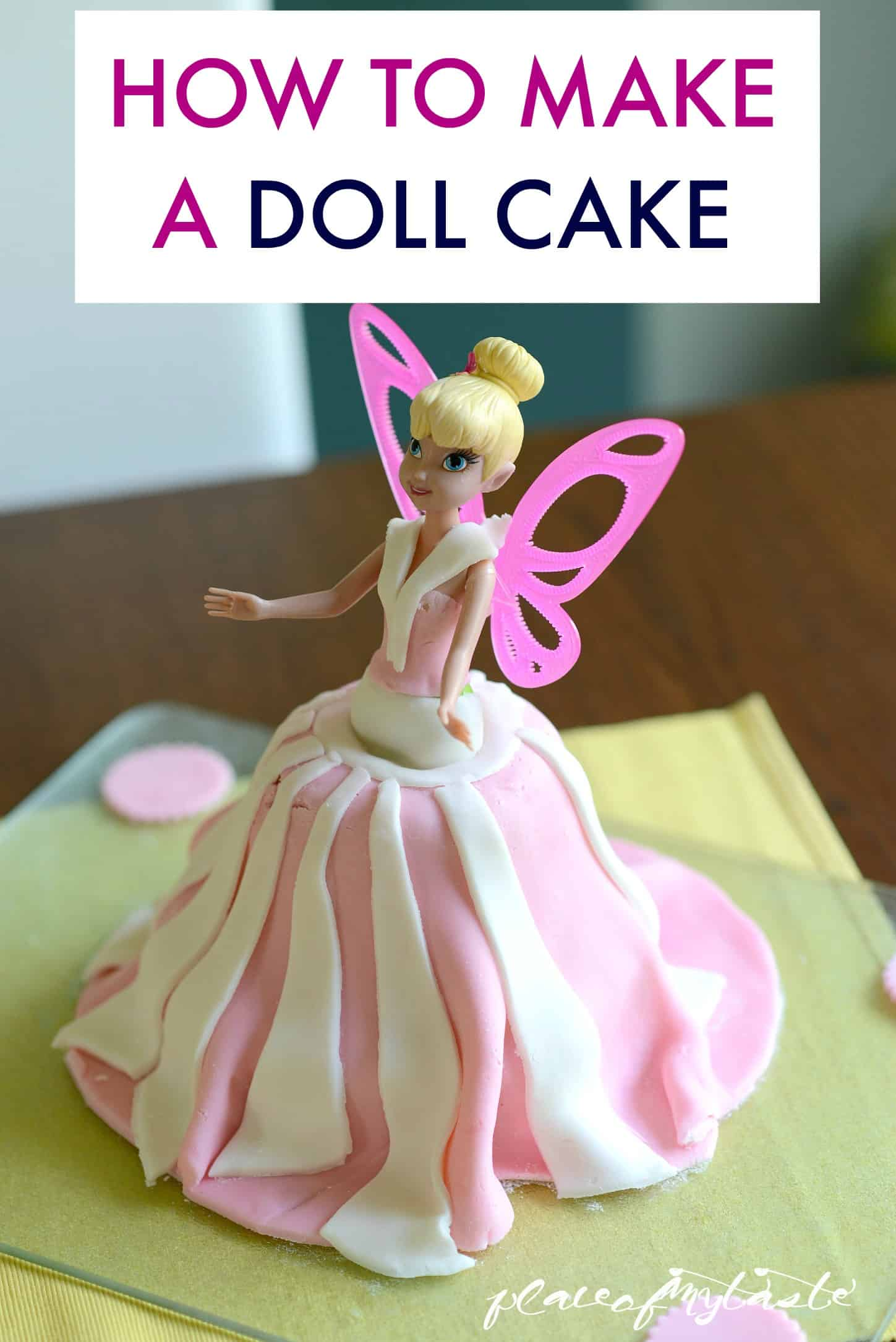Doll cake with a fondant and sponge skirt