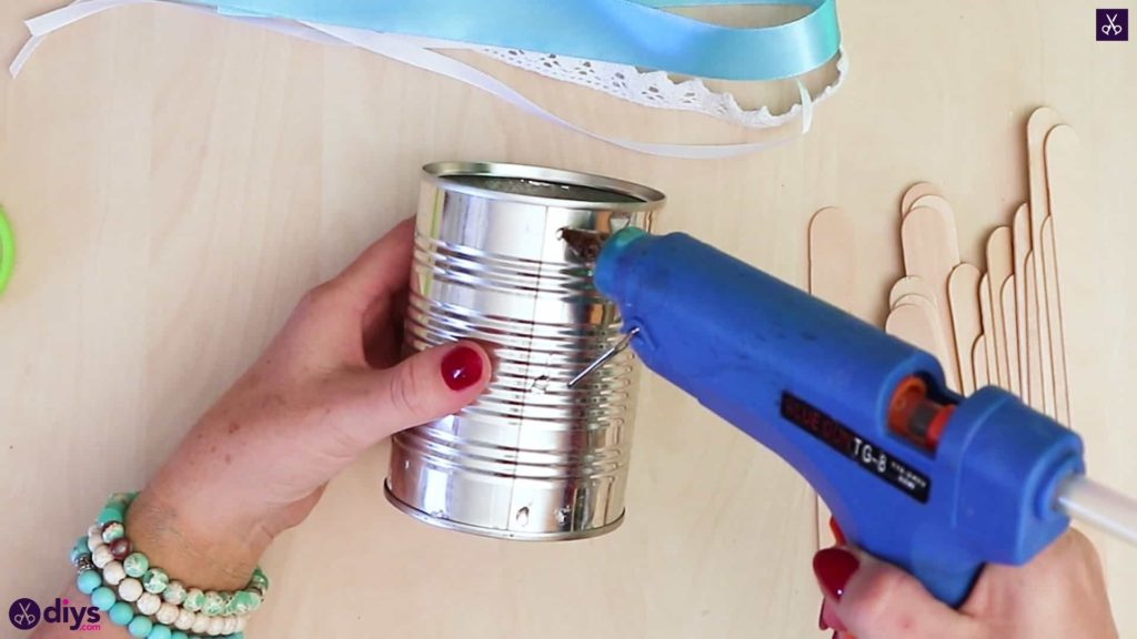 Elegant popsicle stick covered tin container attach glue