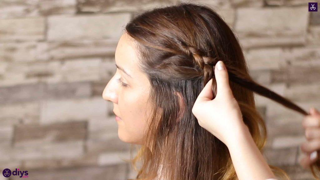 Elegant side braid hairstyle step 3d