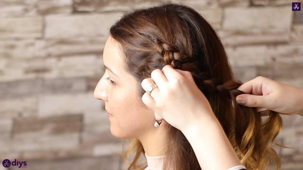 Elegant side braid hairstyle step 4a