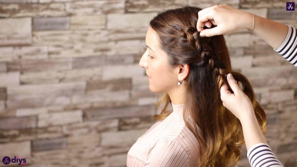 Elegant side braid hairstyle step 4d