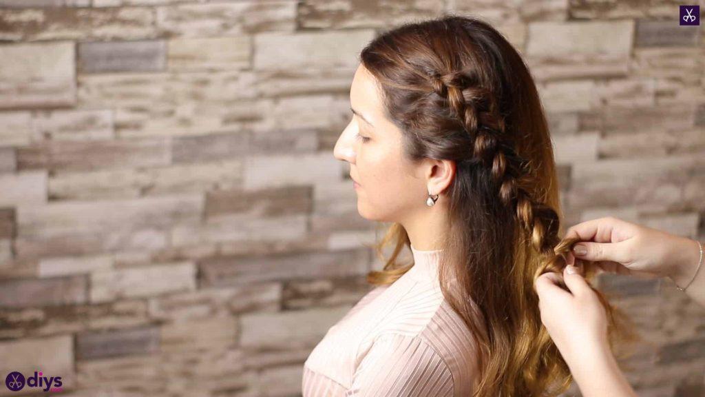 Elegant side braid hairstyle step 5c