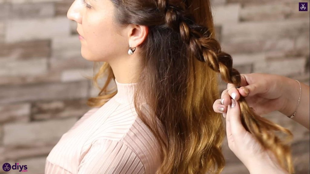 Elegant side braid hairstyle step 5g