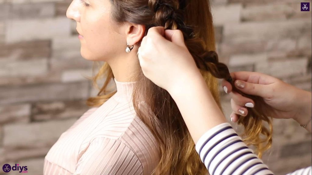 Elegant side braid hairstyle step 5h