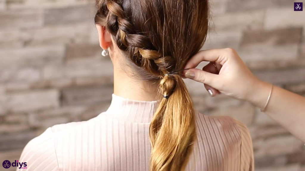 Elegant side braid hairstyle step 7ds