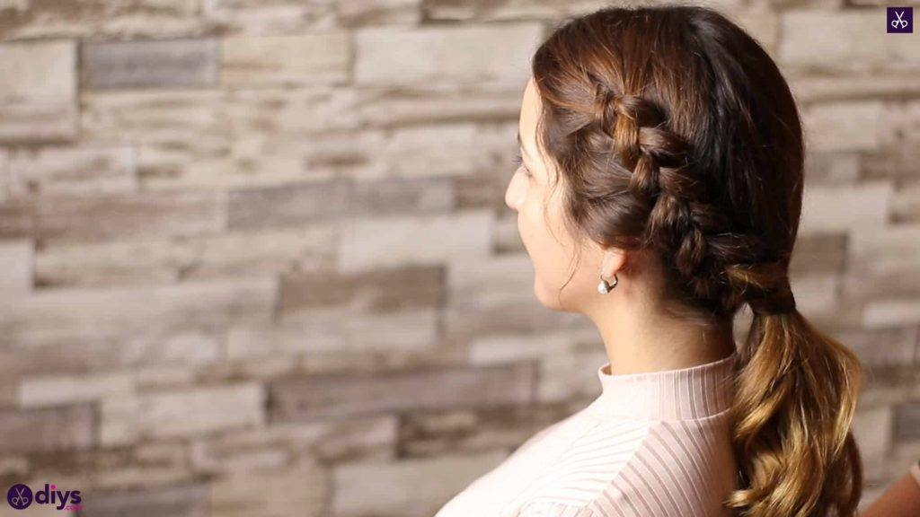 Elegant side braid hairstyle step a