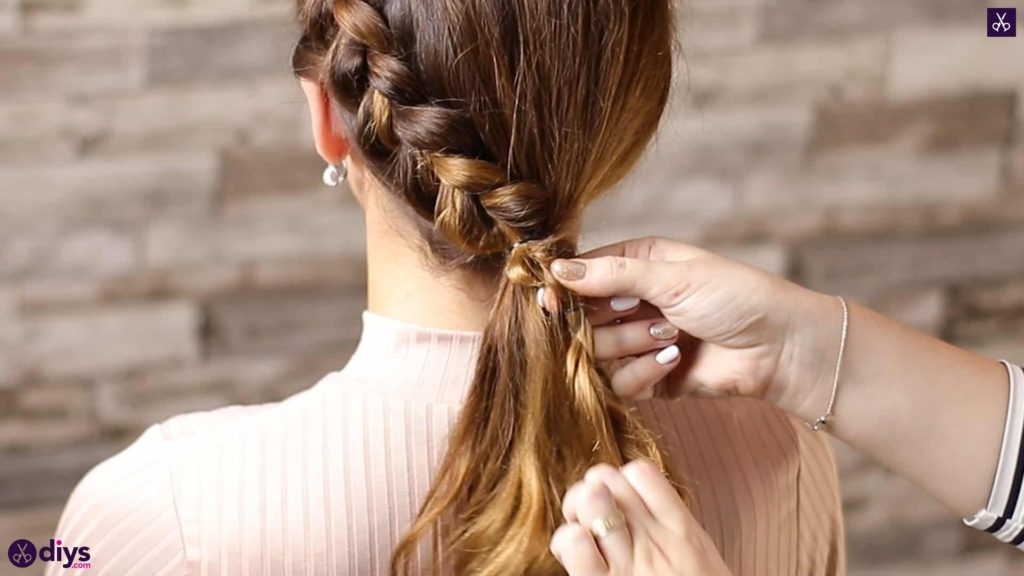 Elegant side braid hairstyle step b