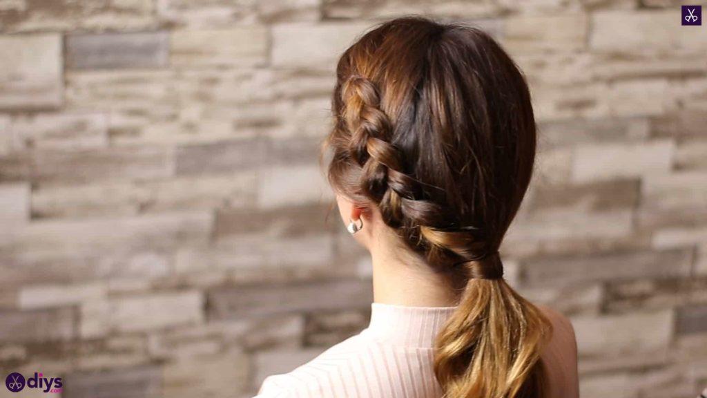 Elegant side braid hairstyle step d