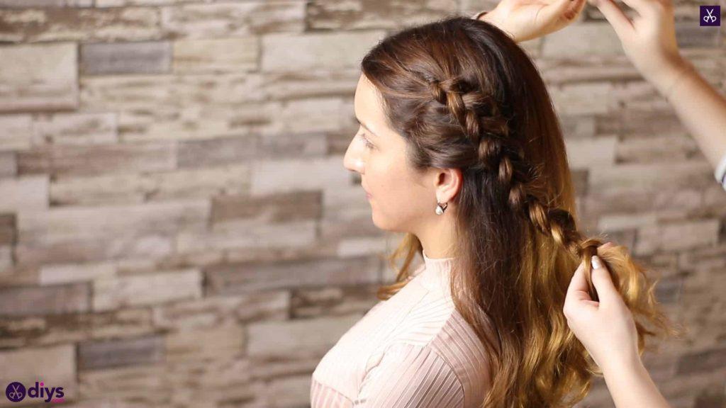 Elegant side braid hairstyle step e