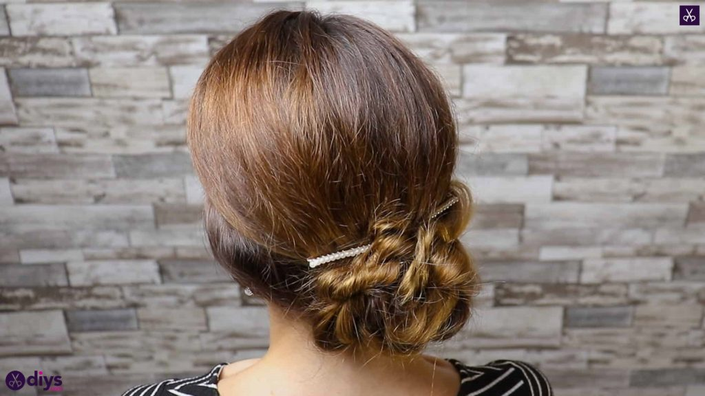 Elegant and easy wedding bun hairstyle for guests step 1a
