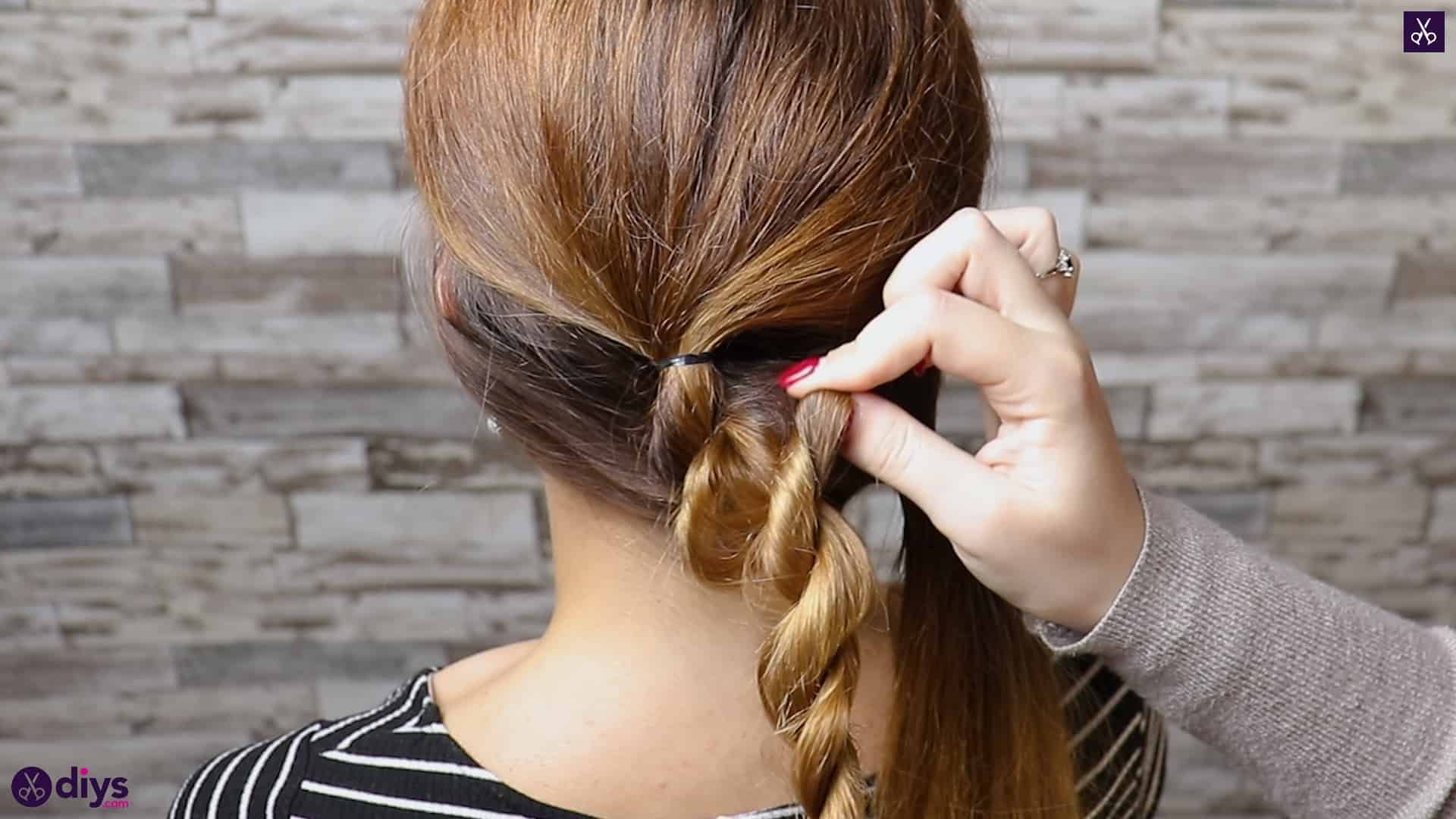 Elegant and easy wedding bun hairstyle for guests step 2b