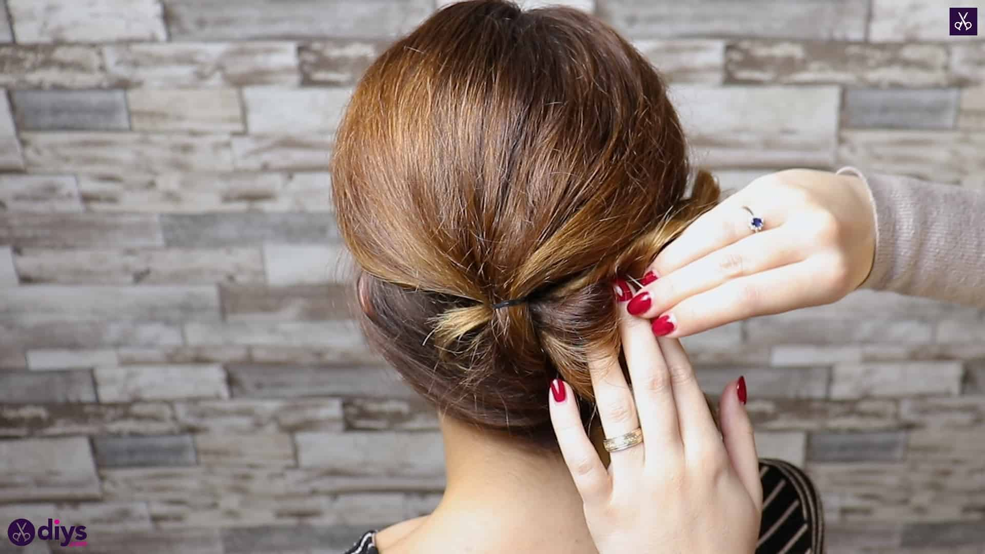 Elegant and easy wedding bun hairstyle for guests step 3a