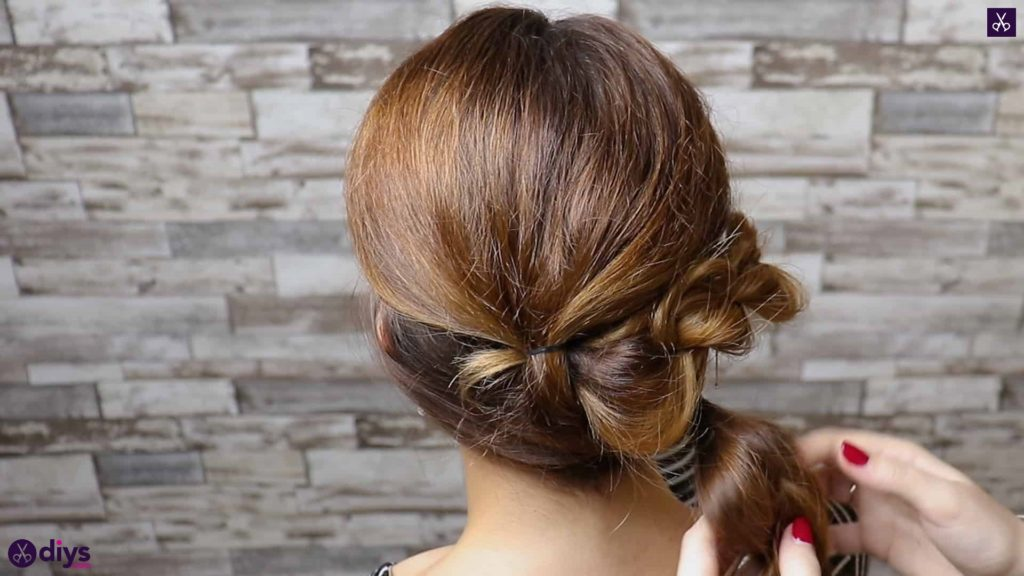 Elegant and easy wedding bun hairstyle for guests step 3b