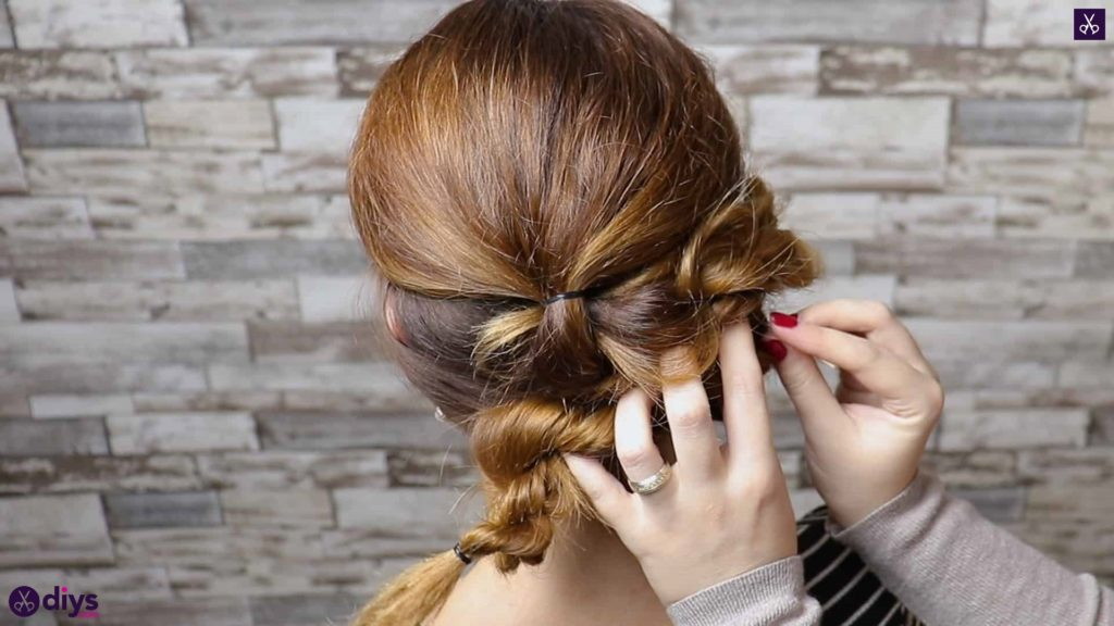 Elegant and easy wedding bun hairstyle for guests step 3c