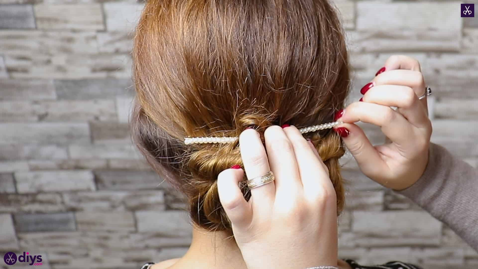 Elegant and easy wedding bun hairstyle for guests step 4b