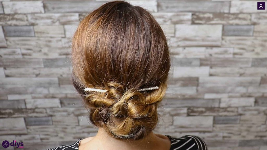 Elegant and easy wedding bun hairstyle for guests step 4c