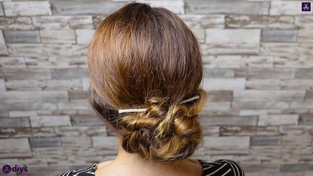 Elegant and easy wedding bun hairstyle for guests step 4d
