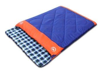 Famous juggle double sleeping bag & unzipped into 2 individual sleeping bagså