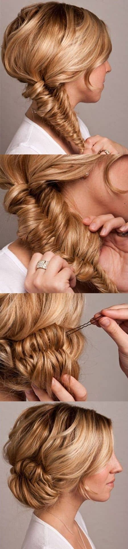 Fishtail wedding bun