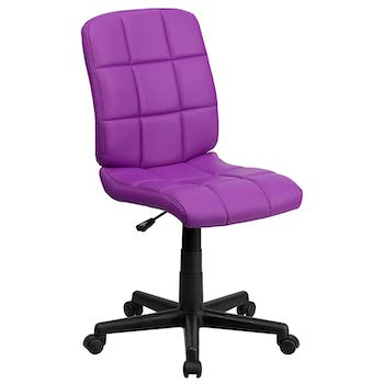 Flash furniture mid back purple quilted vinyl swivel task office chair