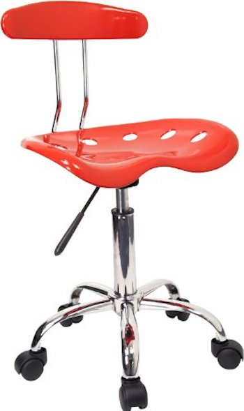 Flash furniture vibrant red and chrome swivel task office chair