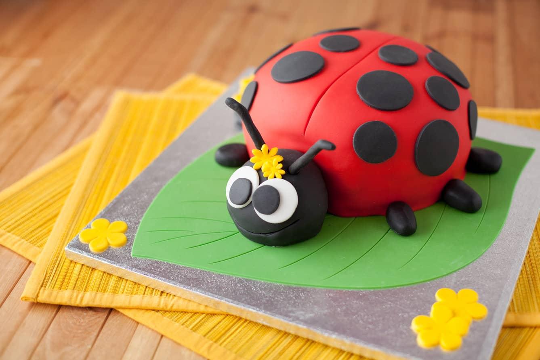 Fondant ladybug cake