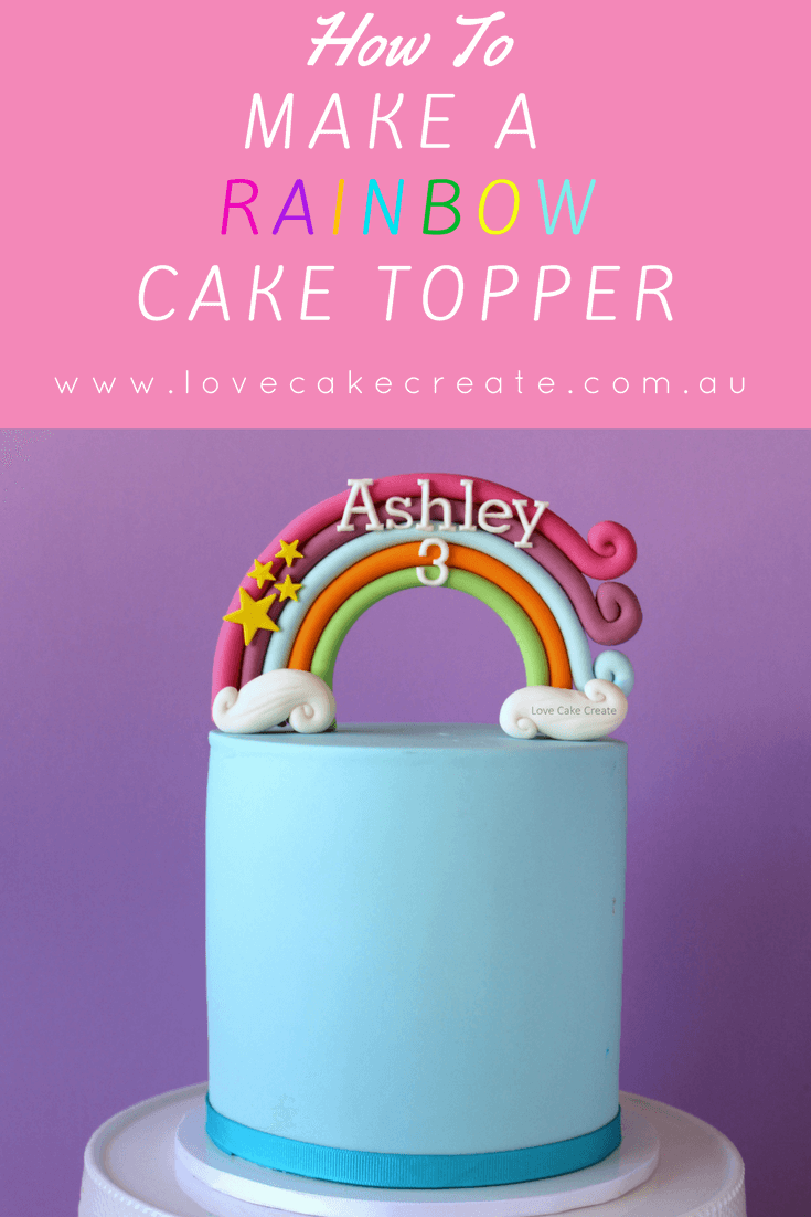Fondant rainbow cake topper