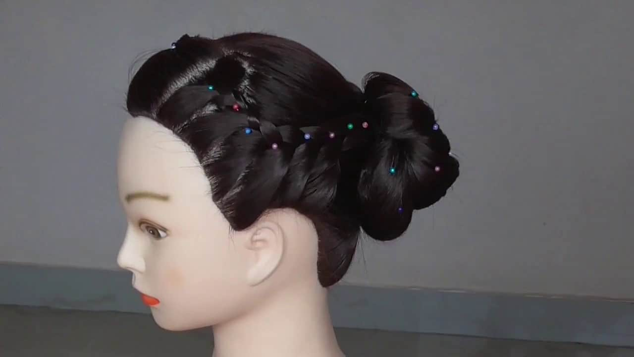 French braided bun with bead detail