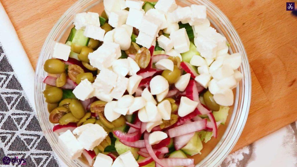 Greek style salmon salad cheese