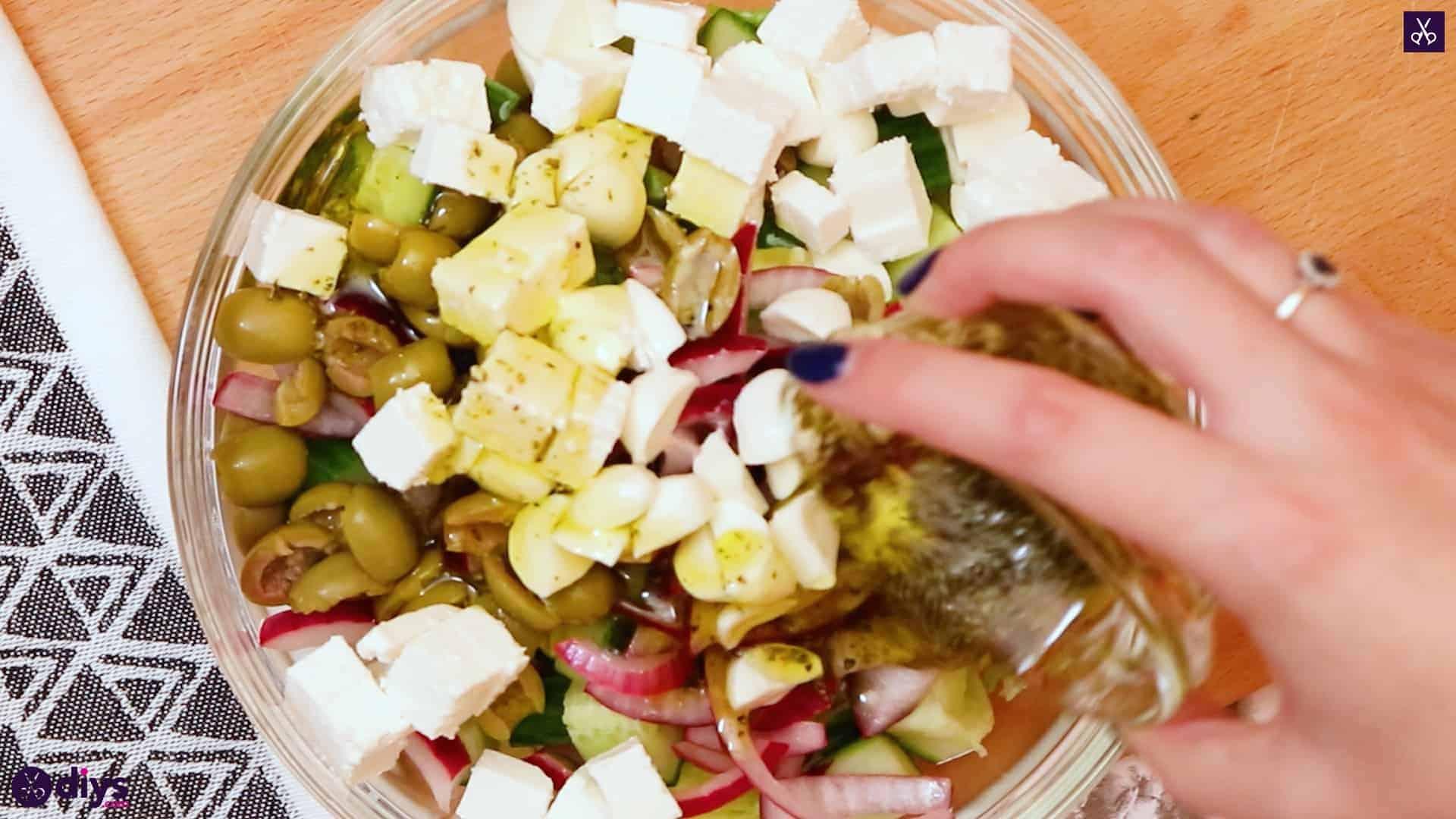 Greek style salmon salad on the salad