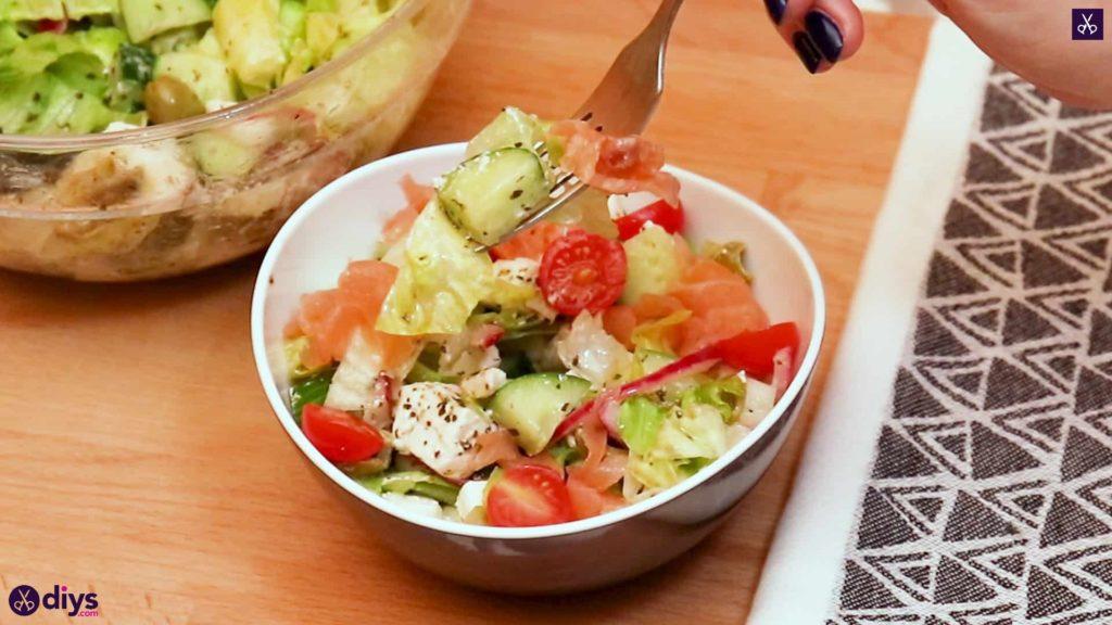 Greek style salmon salad serve