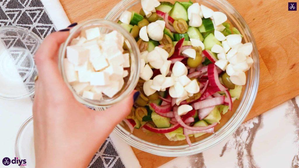 Greek style salmon salad vegetable
