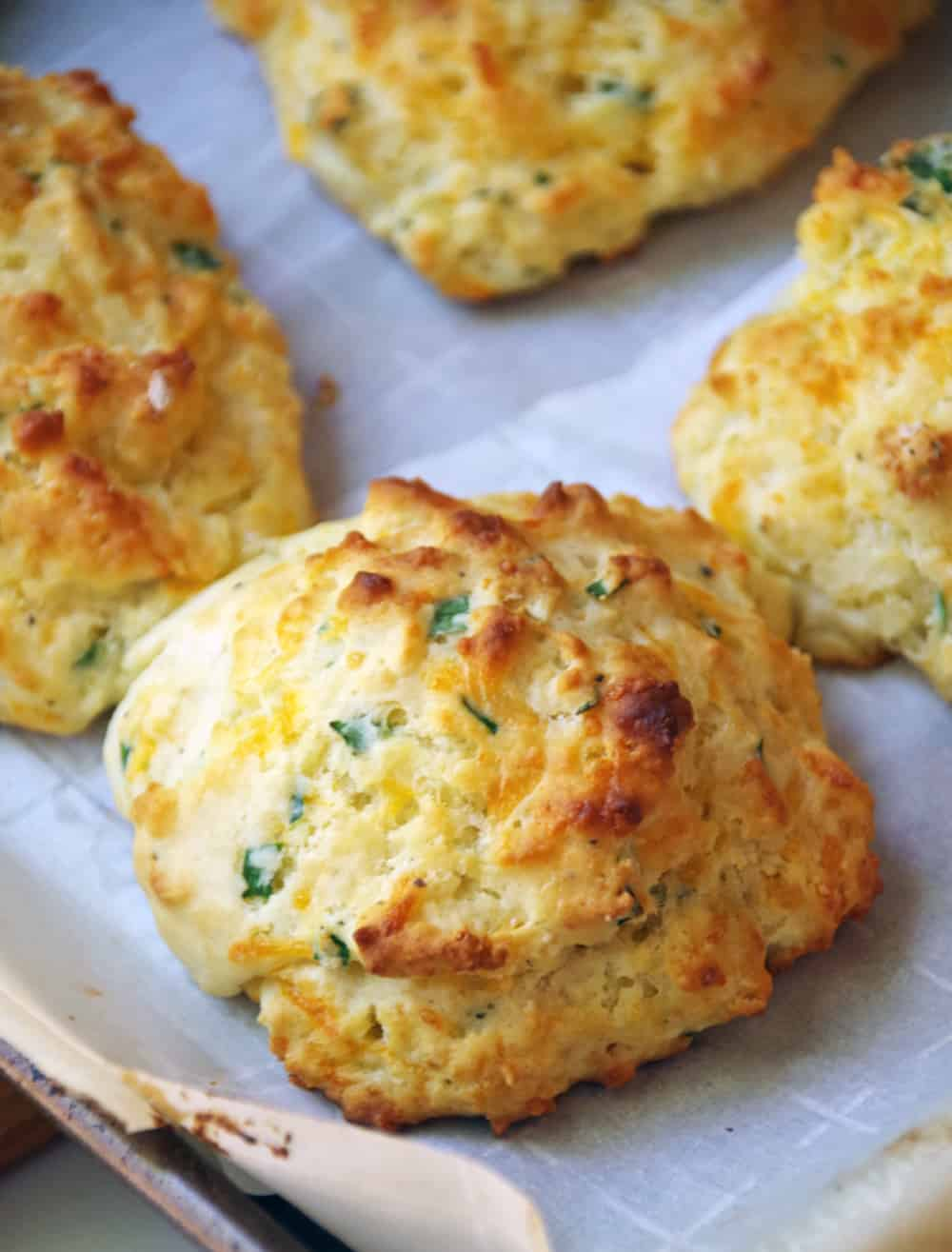 Homemade cheddar and chive buttermilk biscuits