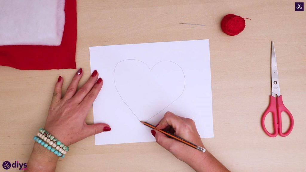 How to make a heart pillow draw